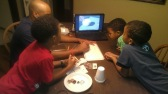 The boys started working on their hovercraft with their dad!